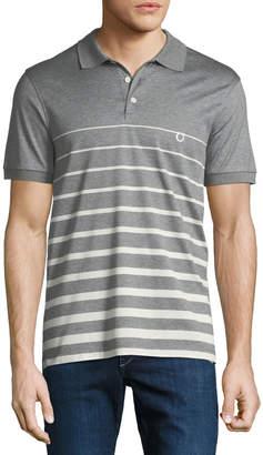 Salvatore Ferragamo Men's Horizon Striped Cotton Polo Shirt with Gancio Embroidery