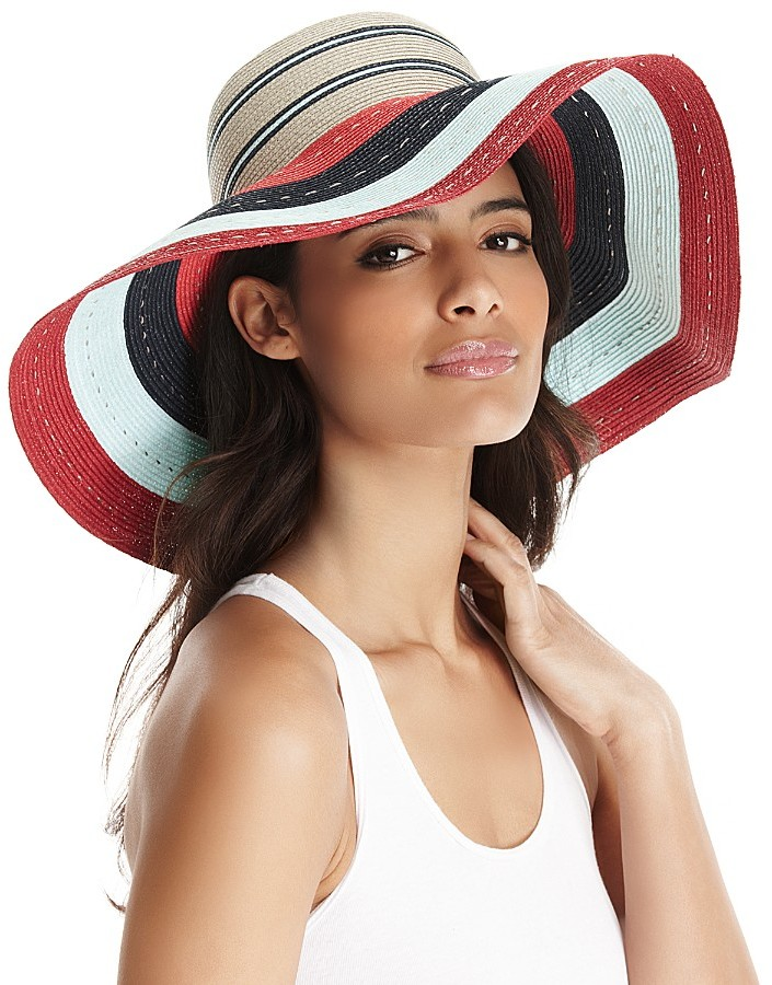 "Juicy Couture Mia"" Striped Packable Sunhat"