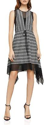 BCBGMAXAZRIA Striped Mesh A-Line Dress