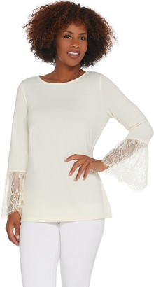 Belle By Kim Gravel Belle by Kim Gravel Lace Trim Bell Sleeve Top