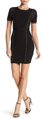 Wow Couture Grommet Ribbed Bodycon Dress