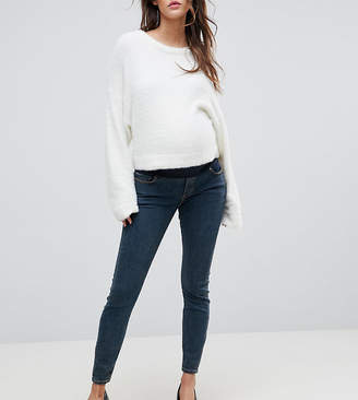 Asos DESIGN Maternity Ridley high waist skinny jeans in nanette darkwash blue with under the bump waistband
