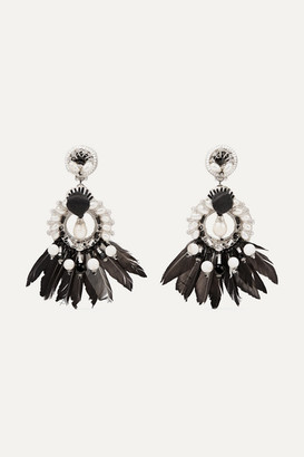 Ranjana Khan Leather, Silver-tone And Feather Multi-stone Clip Earrings - Black
