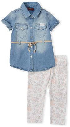 7 For All Mankind Infant Girls) Two-Piece Chambray Tunic & Floral Leggings Set