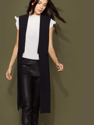 Halston Sleeveless Maxi Waistcoat with Side Slits