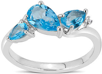 Swarovski FINE JEWELRY Sterling Silver Blue and White Topaz 3-Stone Ring featuring Genuine Gemstones
