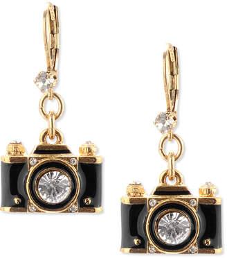 Betsey Johnson Gold-Tone Black Camera Crystal Drop Earrings
