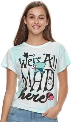 "Disney's Alice in Wonderland Juniors' ""We're All Mad Here"" Tie-Dye Crop Tee"