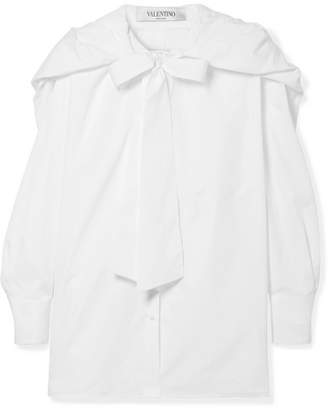 Valentino Hooded Pussy-bow Silk-trimmed Cotton-poplin Shirt - White