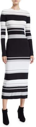 Norma Kamali Long-Sleeve Striped Bodycon Dress