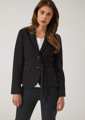Emporio Armani Single-Breasted Jacket In Double Poly-Viscose Canvas With Belt