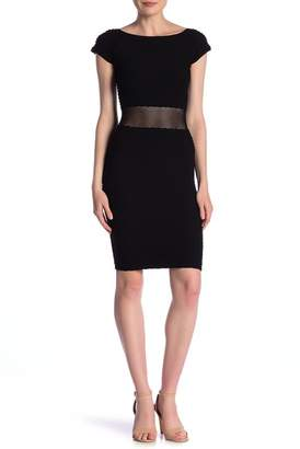 Bebe Textured Mesh Waist Bodycon Dress
