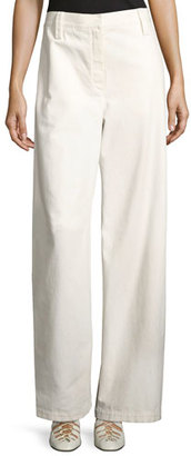 THE ROW Werto Cotton Wide-Leg Pants, White $590 thestylecure.com