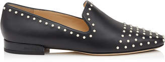 Jimmy Choo JAIDA FLAT Black Leather Square Toe Slippers with Pearl Detailing