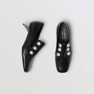 Burberry Stud Detail Patent Leather Pumps , Size: 36, Black