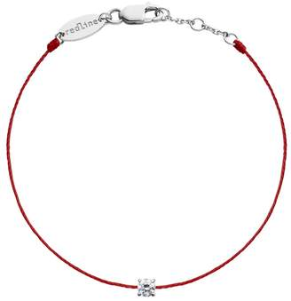Redline Solitaire Diamond Red String Bracelet - White Gold