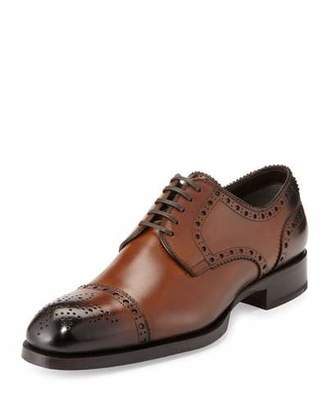 TOM FORD Edward Med-Cap Wing-Tip Derby Shoe, Brown $1,890 thestylecure.com