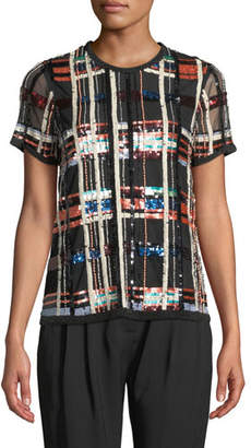 Parker Shelly Sequin Check Short-Sleeve Top