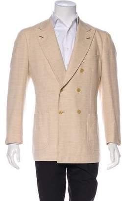 Isaia Double-Breasted Herringbone Alpaca & Wool Blazer