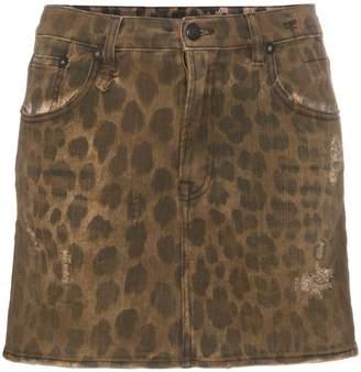 R 13 high rise leopard print cotton mini skirt