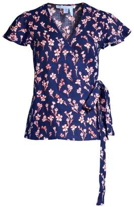 Draper James Floral Linen Wrap Top