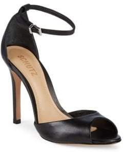 Schutz Classic Leather Ankle-Strap Sandals