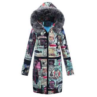 a35fc0b832a ThePass-Women Down Jackets ThePass Womens Long Down Jacket Print Winter  Cotton Parka Hooded Coat