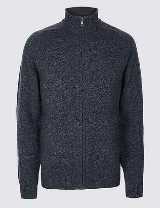 Marks and Spencer Pure Lambswool Textured Zip Through