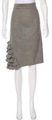 Lela Rose Ruffle Knee-Length Skirt