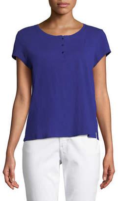 Eileen Fisher Cap-Sleeve Slubby Organic Cotton Jersey Tee, Plus Size