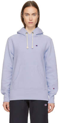 Champion Reverse Weave Blue Small Logo Hoodie