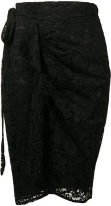 Pinko Rebrodé Fringed Lace Skirt