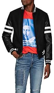 Barneys New York Golden Bear x Men's Striped Wool-Blend & Leather Varsity Jacket - Black
