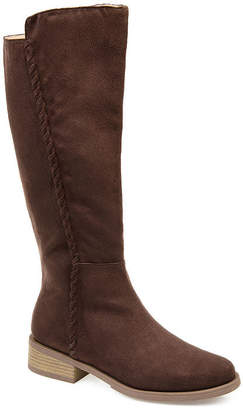 Journee Collection Womens Jc Blakely-Wc Stacked Heel Zip Riding Boots