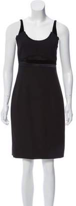Calvin Klein Collection Velvet-Trimmed Wool Dress Black Velvet-Trimmed Wool Dress