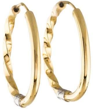 14K Two-Tone Twist Hoop Earrings