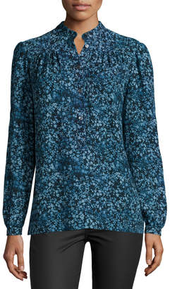 Michael Kors Long-Sleeve Floral-Print Blouse, Chambray/Multi Colors