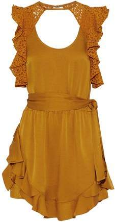 Ruffled Corded Lace-Paneled Satin-Crepe Mini Dress