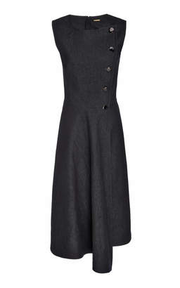 ADAM by Adam Lippes Asymmetric Hem Button Detail Cotton-Blend Dress