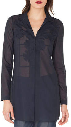 Akris Long-Sleeve Button-Down Floral-Embroidered Tunic Blouse