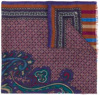 Etro paisley and tile print scarf