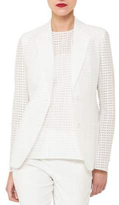 Akris Cotton-Silk Square-Ajoure Single-Breasted Blazer