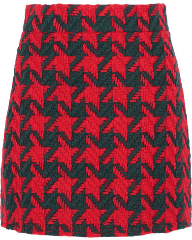 Gucci - Houndstooth Wool-blend Mini Skirt - Red