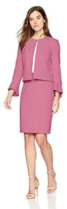 Tahari by Arthur S. Levine Women's Crepe Tulip Sleeve Open Front Jacket Skirt Suit