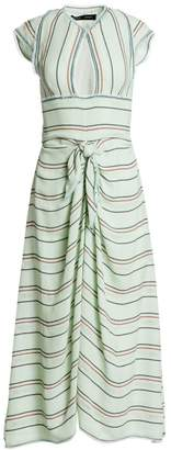 Proenza Schouler Striped Cap Sleeve Tie-Front Midi Dress