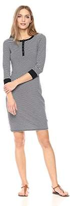 Three Dots Women's Montauk Stripe Henley Tight mid Dress