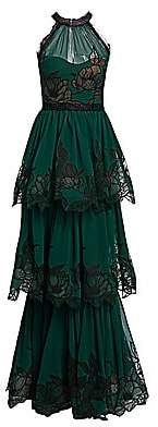 Marchesa Women's Lace-Trimmed Tiered Gown