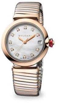 Bvlgari LVCEA Stainless Steel & Rose Gold Diamond Bracelet Watch