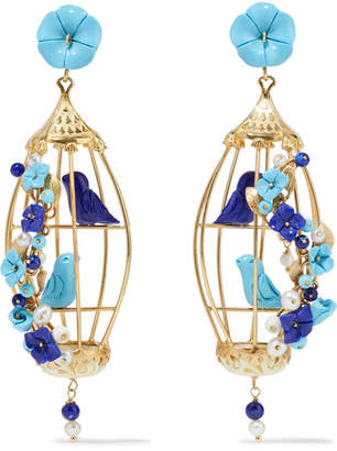 Of Rare Origin Lovebirds Gold Vermeil Multi Stone Earrings Blue