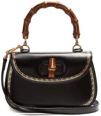 Gucci Bamboo Handle Leather Bag - Womens - Black